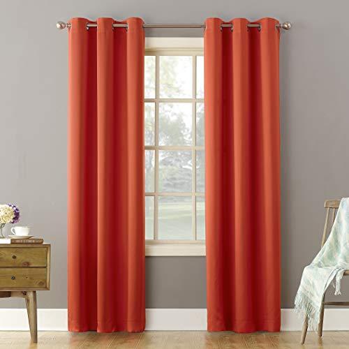 Sun Zero Becca Energy Efficient Grommet Curtain Panel, 40' x 84', Tangerine Orange