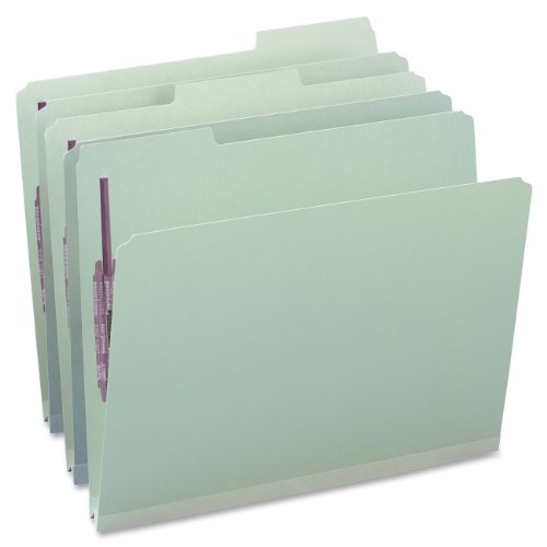 Smead Pressboard Fastener File Folder with SafeSHIELD Fasteners, 2 Fasteners, 1/3-Cut Tab, 1' Expansion, Letter Size, Gray/Green, 25 per Box (14931)