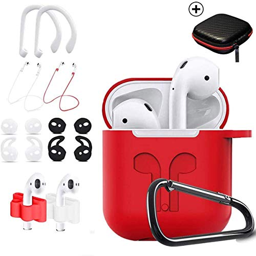 TOLUOHU AirPods Case, 12 in 1 Silicone AirPods 1&2 Accessories Set Protective Cover, Skin for Apple AirPods Charging Case, Watch Band/Airpods Tips/Strap/Holder/Ear Hooks/Keychain/Carrying Box(Red)