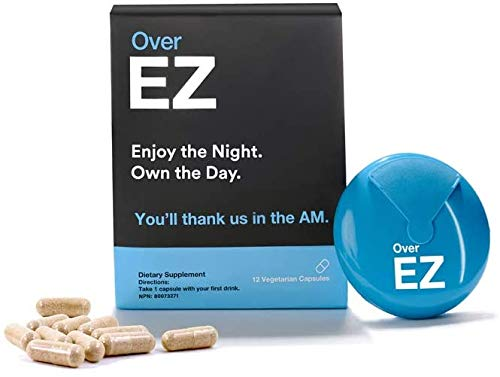 Over EZ Pre-Drink Supplement - Party Recovery & Prevention Pills for Rapid Hydration Aid & Better Mornings, Milk Thistle, Amino Acids, Vitamin Bs (12 Servings)