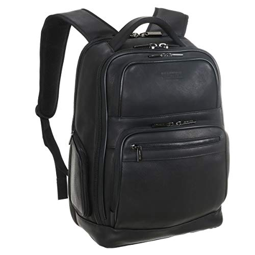 Kenneth Cole Reaction Colombian Leather Double Compartment 15.6' Laptop RFID Backpack Bag, Black, Business