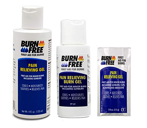 Burn Free Pain Relieving Gel 4 ounces + 2 ounces Combo Pack / 2 Pack Cools, Moisturizes, Soothes and Relieves Pain. FREE Single Use Pain Relieving Gel packet - FIRST AID FOR BURNS