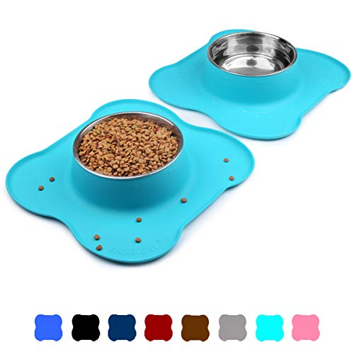 Vivaglory Large Dog Bowls Set, 2 Pack Puppy Bowls with Non Spill Silicone Mat and Food Grade Stainless Steel Water and Food Feeding Bowl for Large Dog, Turquoise