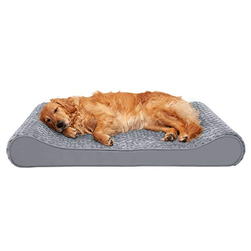 Furhaven Pet Dog Bed - Cooling Gel Foam Ultra Plush Faux Fur Ergonomic Luxe Lounger Cradle Mattress Contour Pet Bed with Removable Cover for Dogs and Cats, Gray, Jumbo