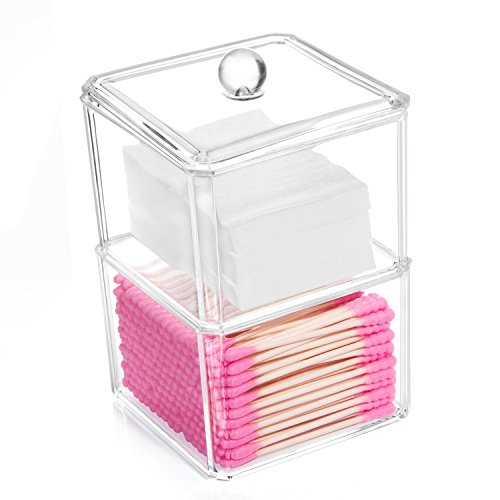HBlife Cotton Ball and Swab Holder Organizer, Clear Acrylic Cotton Pad Container for Cotton Swabs, Q-Tips, Make Up Pads, Cosmetics and More