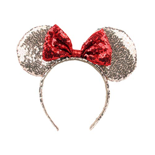 OBUY Rose Golden Minnie Mouse Ears Mickey Ears,Adult red Ears,Mice Ears Minnie Mouse Ears,Rainbow Minnie Mouse Ears, Sparkly Minnie Ears, Mouse Ears