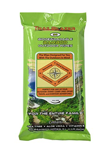 Trailblazer Biodegradable No Rinse Bamboo XL Wipes Survive Outdoors Anytime and Anywhere 30 Count Value Pack