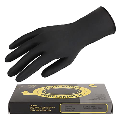 20 Counts Hair Dye Gloves, Segbeauty Black Reusable Rubber Gloves, Powder Free Rubber Latex Gloves, Professional Hair Coloring Accessories for Hair Salon Hair Dyeing