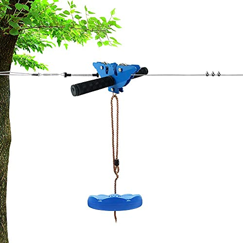 X XBEN 120FT Zip line Kit for Kids and Adults, Zip Lines for Backyard, Included Swing Seat, Spring Brake, Steel Trolley and Adjustable Safety Belt, Outdoor Play Sets Equipment