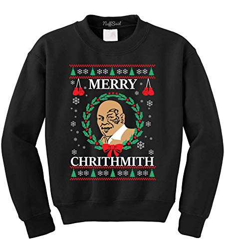 NuffSaid Merry Chrithmith Chirithmith Mike Tyson Ugly Christmas Sweater Unisex Sweatshirt (4XL, Black)