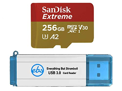 SanDisk 256GB Micro SDXC Memory Card Extreme Works with GoPro Hero 8 Black, GoPro Max 360 Action Camera U3 V30 4K Class 10 (SDSQXA1-256G-GN6MN) Bundle with 1 Everything But Stromboli 3.0 Card Reader