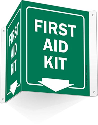 SmartSign - S-9019-AV-06 'First Aid Kit' Projecting Sign | 5' x 6' Aluminum First Aid Kit - 5' x 6' Aluminum