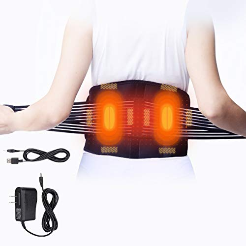 Massaging Heating Pad for Back Pain, Electric AC/USB Waist Heating Pad Belt Heat Therapy for Lower Back Pain Relief Lumbar Abdominal Leg Cramps Arthritic Menstrual Cramps Pain Relief No Battery