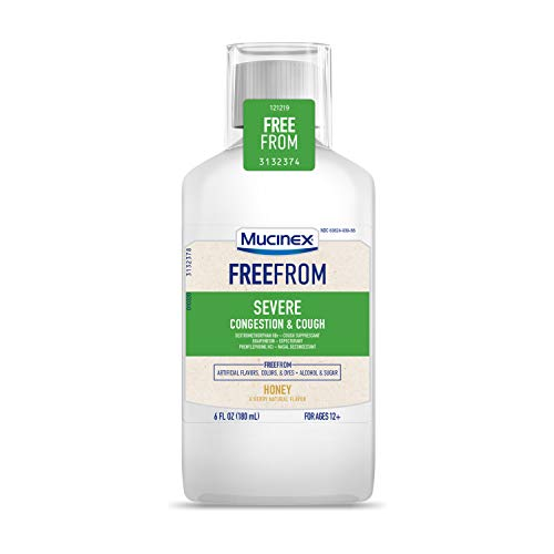Mucinex FreeFrom Severe Congestion & Cough, Multi-Symptom Relief, Cough Suppressant, Expectorant and Nasal Decongestant, No Unwanted Additives, Honey & Berry Natural Flavor, 6 FL OZ
