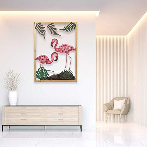 SOPRETY Metal Flamingo Wall Decor Sign,Gold Frame and 3D Flamingo Painted Wrought Iron Artwork Decoration for Living Room, Bedroom, Office, 7.9 * 27.4 in