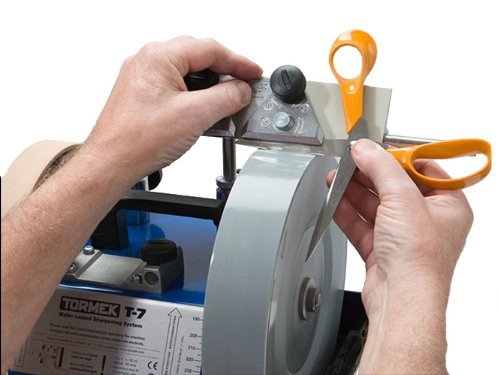 Tormek SVX-150 Sharpening Jig for Scissors.  Give all of your scissors and shears a sharp, even edge.