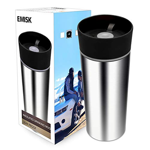 Travel Coffee Mug with 360 Degree Drinking Lid, EMISK Leak-Proof Vacuum Insulated Tumbler, Double Walls Stainless Steel Thermal Travel Cup for Hot and Ice Cold Water Beverages (Grey)