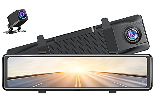 AKASO DL12 2.5K Mirror Dash Cam Voice Control 12' Touch Screen Front and Rear Dual Dash Camera for Cars Enhanced Night Vision Backup Camera with Sony Starvis Sensor GPS G-Sensor Parking Assistance