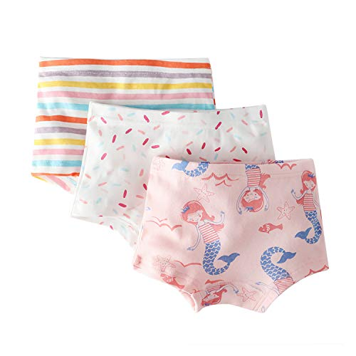 Girls' Mermaid Panties Polka Dot Boyshort Assorted Underwear for Toddler Pink Stripe