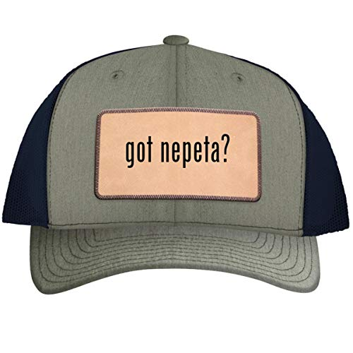 got Nepeta? - Leather Light Brown Patch Engraved Trucker Hat, Heather-Navy, One Size