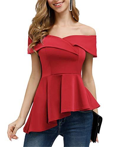 Women's Peplum Tops Short Sleeve Asymmetrical Ruffle Hem Off The Shoulder Blouse Red L