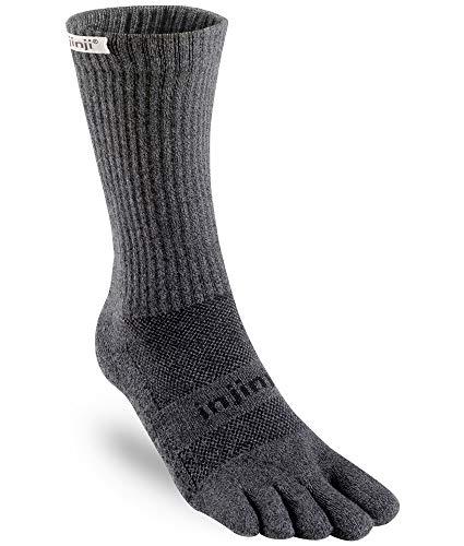 Injinji Unisex Trail Midweight Crew Xtralife Socks Small Granite