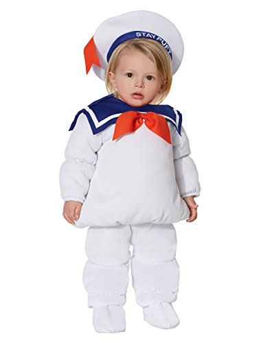 Spirit Halloween Baby Belly Stay Puft Marshmallow Ghostbusters Costume | Officially Licensed White