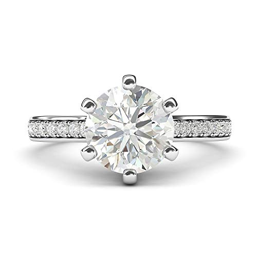 14k White Gold 2 Carats Classic 6-Prong Simulated Diamond Engagement Ring with Side Stones Promise Bridal Ring (5)