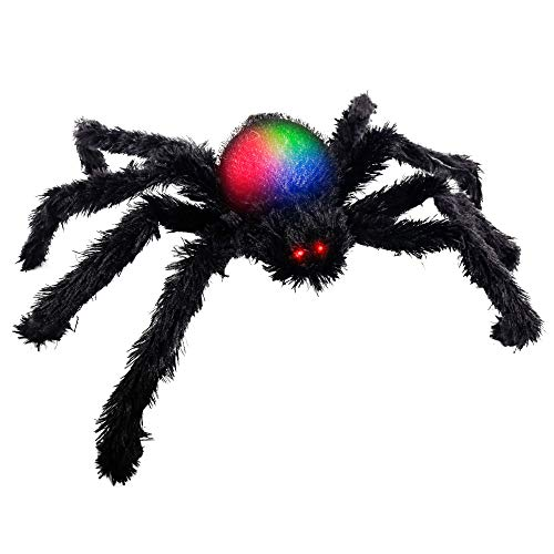 Halloween Haunters 28' Oversized Realistic Scary Black Fury Spider with Red LED Eyes and Multiple Color Flashing Body Prop Decoration - Place In Web, Tree, Yard Lawn, Haunted House Graveyard, Entryway
