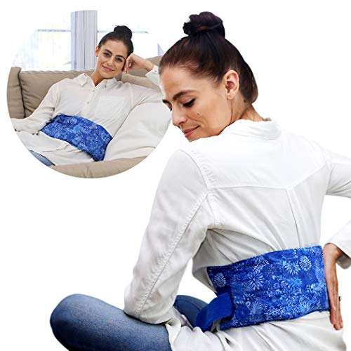 Hot Pockets Back Heating Pad for Lower Back Pain Relief - Washable and Microwavable Heat Wrap with Secure to Body Strap – American Brand Natural Hot & Cold Therapy Packs (Blue Flowers)