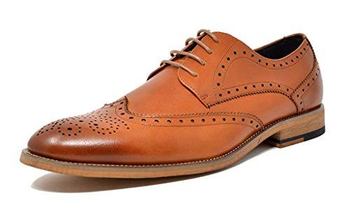 Bruno Marc Men's Oxford Dress Shoes Wingtip Genuine Leather Formal Shoes Brown Size 11 M US Waltz-3