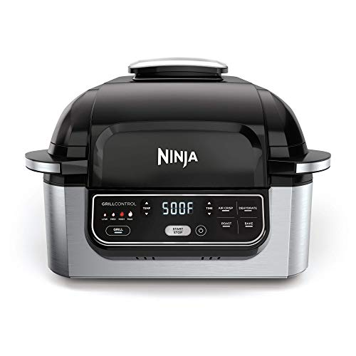 Ninja Foodi 5-in-1 4-qt. Air Fryer, Roast, Bake, Dehydrate Indoor Electric Grill (AG301), 10' x 10', Black and Silver (Renewed)