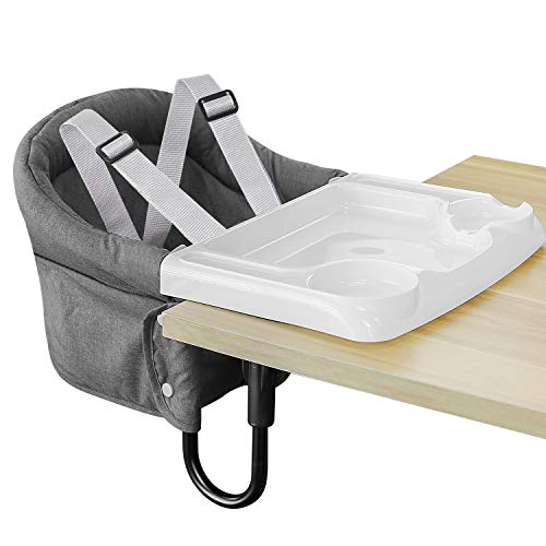 Hook On Chair, Fold-Flat Storage and Tight Fixing Clip on Table High Chair, Removable Seat Cushion, Fast Table Chair with Dining Tray Plus (Grey)