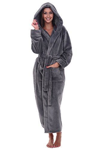Alexander Del Rossa Women's Plush Fleece Robe with Hood, Warm Bathrobe Large-XL Steel Gray (A0116STLXL)