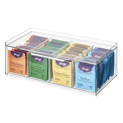 iDesign 72110 Crisp BPA-Free Plastic Stackable Packet Storage Drawer with Lid for Kitchen Cabinets and Countertops, 12.59' x 6.23' x 4.57', Tea Organizer