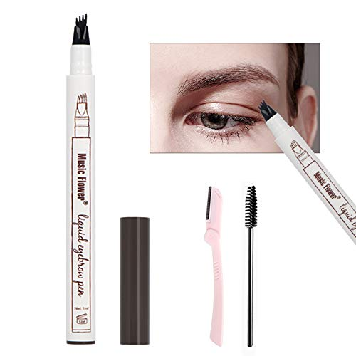 Eyebrow Tattoo Pen, TurritopsisD Tat Brow Microblading Waterproof Liquid Brow Pencil Makeup with a Micro-Fork 4 Tips Applicator Creates Natural Looking Brows and Stays on All Day (Chestnut)