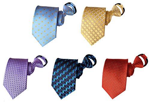 BESMODZ Plaid Zipper Ties for Men 5 PCS Pre-tied Necktie Casual Zip Neck Tie Set
