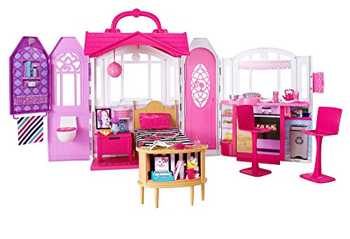 ​Barbie Glam Getaway Portable Dollhouse, 1 Story with Furniture, Accessories and Carrying Handle, for 3 to 7 Year Olds​​​