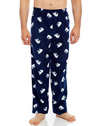 Leveret Mens Pajama Fleece Sleep Pants Polar Bear (Size Medium)