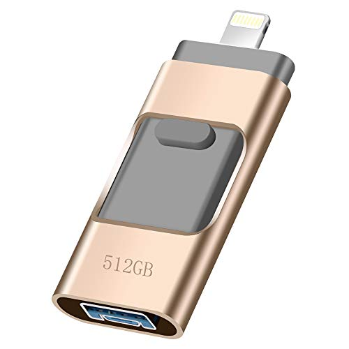 USB Flash Drive for iPhone_ LUNANI iPhone Flash Drive 512GB photostick Mobile for iPhone USB 3.0 iPhone External Storage,Android,PC Photo iPhone Picture Stick(Gold)
