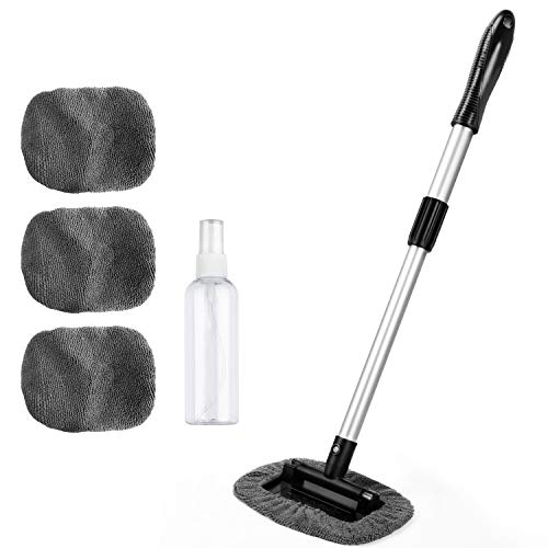 AstroAI Windshield Cleaner, 4 Reusable and Washable Microfiber Pads, Car Window Cleaning Wand Tool with Telescopic and Extendable Handle Auto Inside Glass Wiper Kit, Gray