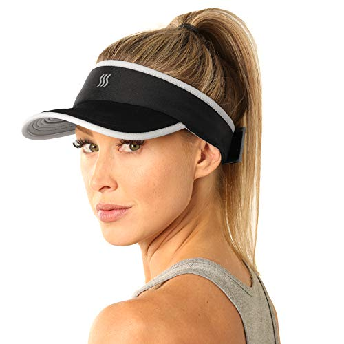 SAAKA Super Absorbent Visor for Women. Best for Running, Tennis, Golf & All Sports. Soft, Lightweight & Adjustable. (Black)