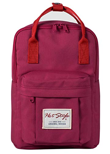 BESTIE 12' Small Backpack for Women, Girl's Cute Mini Bookbag Purse, Little Square Travel Bag, Burgundy