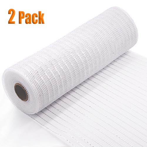 Koopi Poly Deco Mesh 10 inch x 10 Yards Each Roll, Set of 2 White Metallic Foil Mesh Robbins for Wreaths, Swags, Craft, Party and Decorating Supplies- 2 Rolls