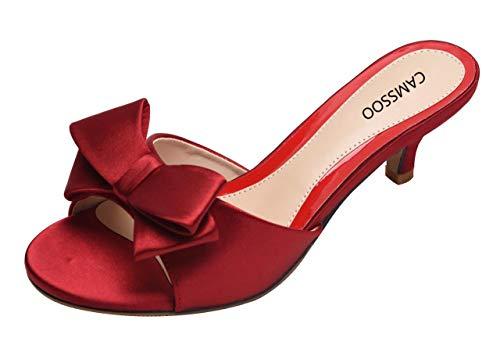 CAMSSOO Women's Kitten Low Heel Slip On Sandals Bowknot Open Toe Backless Mules Slipper Wine Red Size US6 EUR36