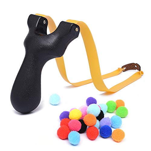TOPRADE Brown Color Wooden Hunting Slingshot with Cotton Ammo for Catapult Game,Hunting-for Kids Children Adults (Black)