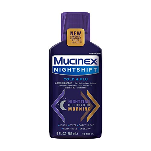 Mucinex Nightshift Cold & Flu Liquid 9 fl. oz. Relieves Fever, Sneezing, Sore Throat, Runny Nose, and Controls Cough (Pack of 3)