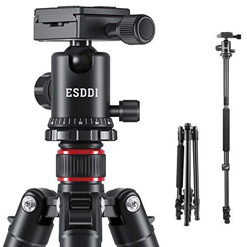 Camera Tripod, ESDDI 62.6'Aluminum Alloy Tripod with Monopod and 360 Degree Ball Head, Professional Camera Tripod Compatible for Canon, Nikon, Sony, Samsung, Olympus&Panasonic, Weight: 2.97lbs/1.35Kg