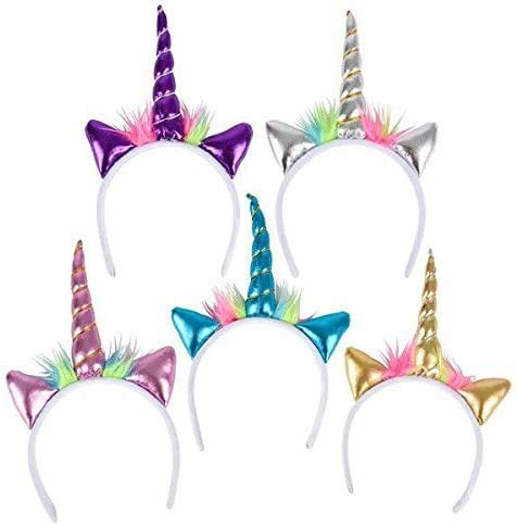 Novelty Toys Metallic Unicorn Headbands - 12 ct