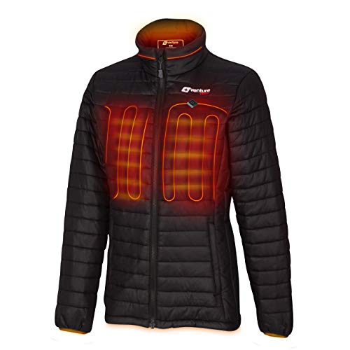 Venture Heat Women's Heated Jacket with Battery Pack - Insulated Electric Coat, Windproof, Traverse 2.0 (M, Black)